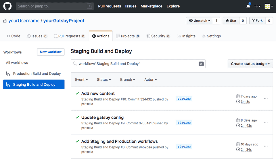 GitHub Actions: Staging workflow execution history