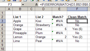 Using the MATCH function in Excel to compare two lists