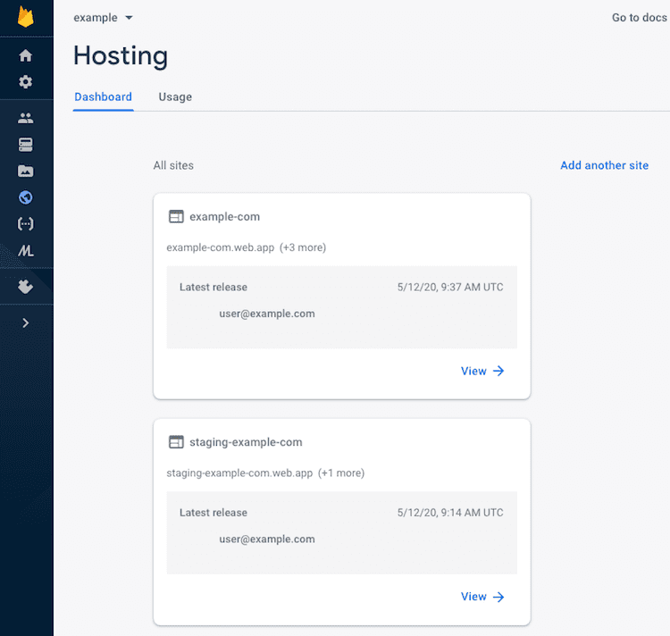 A Firebase Project with 2 Hosting sites configured: production and staging.