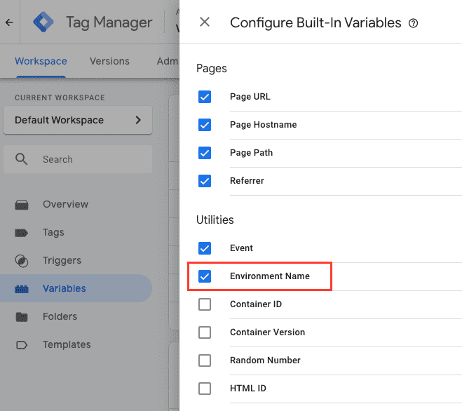Enable the Environment Name variable in Google Tag Manager.